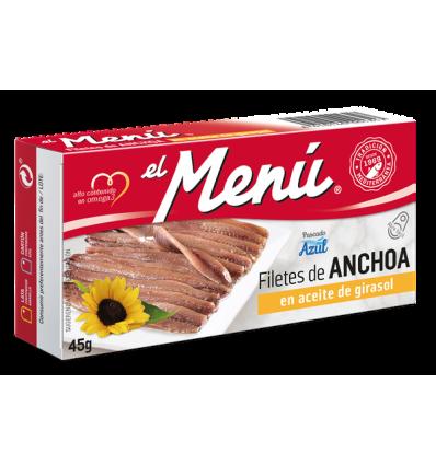 Anchois El Menu huile tournesol 45 Grs