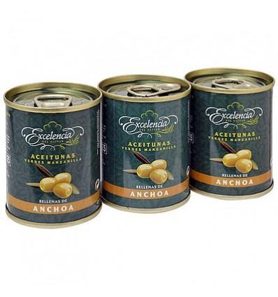 Olive Excelencia ripieni di acciughe Pack-3 120gr