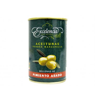 Olives manzanilla farcies au poivrons rôti Conserve 300g Excelencia