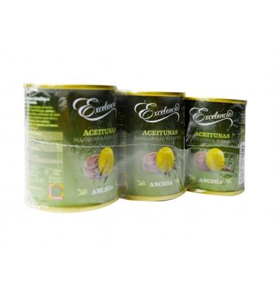 Olives Manzanilla farcies aux anchois Pack 3x120g Excelencia