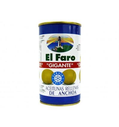 Aceitunas Gigantes Rellenas de Anchoa Lata 350g El Faro
