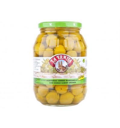 Olives Manzanilla avec noyaux saveur d'anchois Pot en verre 625g La Ermita