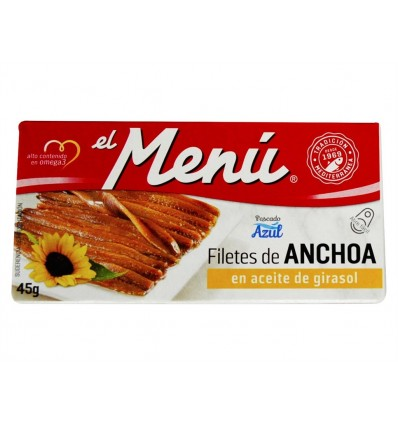 Filetes de Anchoa en Aceite de Girasol Lata 45g El Menú