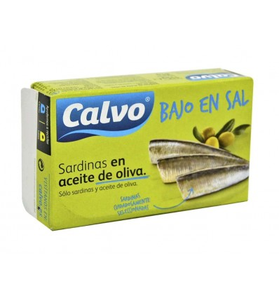 Sardinas en Aceite de Oliva Bajas en Sal Lata 180g Calvo