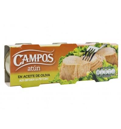 Atún Claro en Aceite de Oliva Pack 3x80g Campos