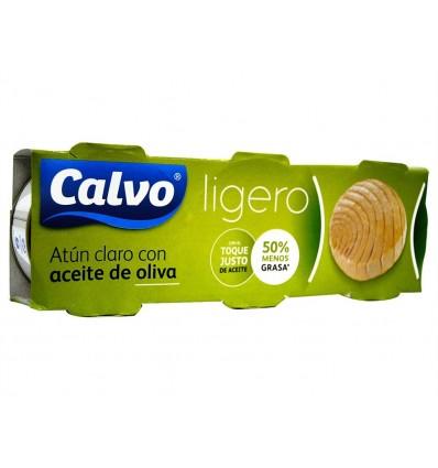 Atún Claro Ligero en Aceite de Oliva Pack 3x60g Calvo