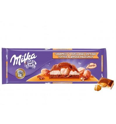 Chocolate Caramelo y Avellanas Tableta 300g Milka