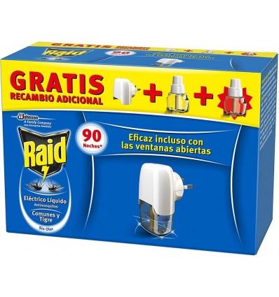Insecticida Eléctrico Antimosquitos Raid Difusor + 2 Recambios (90 noches de Proteccion)