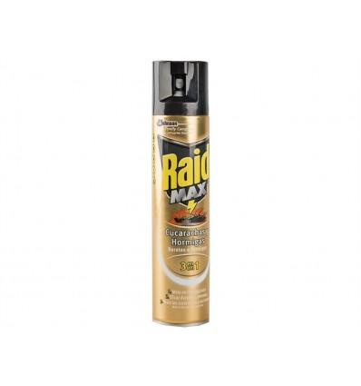 Insecticida Cucarachas y Hormigas 3 en 1 Raid Max Spray 300ml