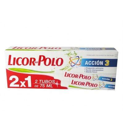Dentifrico Accion 3 Licor del Polo Pack 2x1 75ml