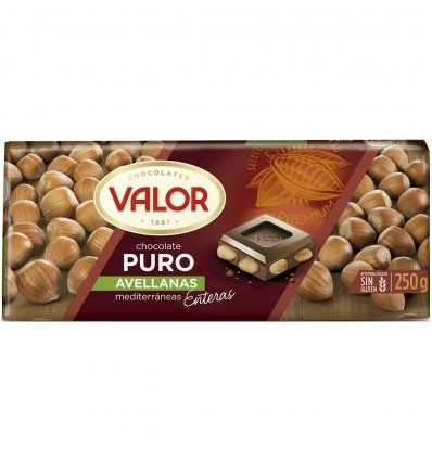 Chocolate Valor Puro Leche Avellanas 250 Gr