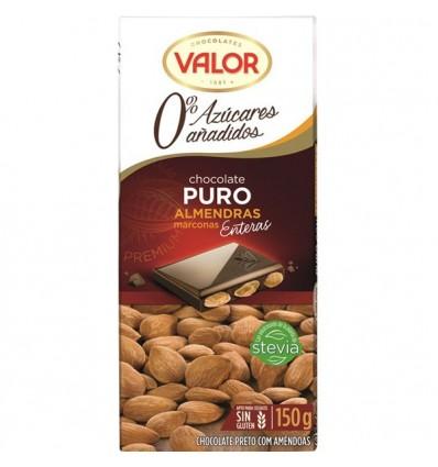 Chocolate Valor Sin azucar Puro Almendra Mediterraneas 150 Grs
