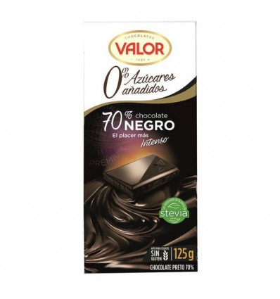 Chocolate Valor Sin azucar Negro 70% 125 Grs