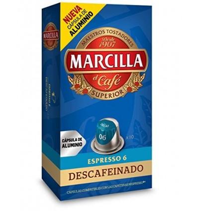 Cafe Marcilla Descafeinado 10 capsulas Compatible Nespresso