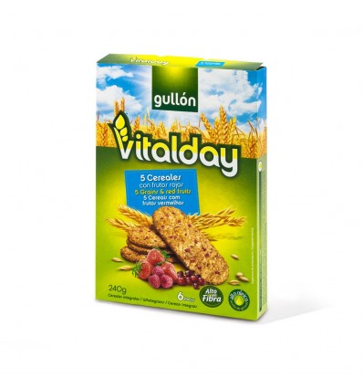 Biscuits Gullon Vitalday 5 Cereales-fruits rouges 240 Grs