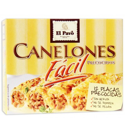 Pasta Canelones El Pavo Precocidos 12 Placas