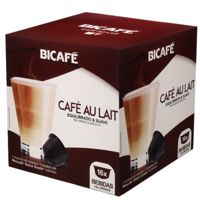 Cafe Bicafe 16 Capsulas (compatible Dolce Gusto) Cafe Leche